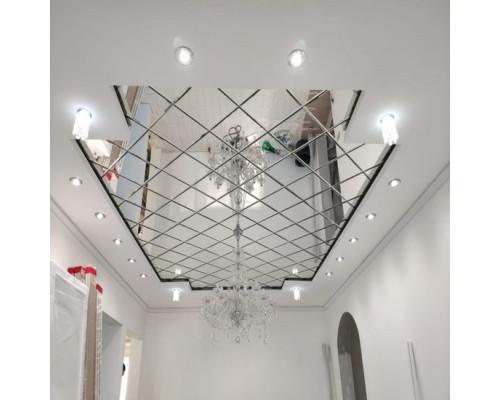 Зеркальное панно на потолок ромбы